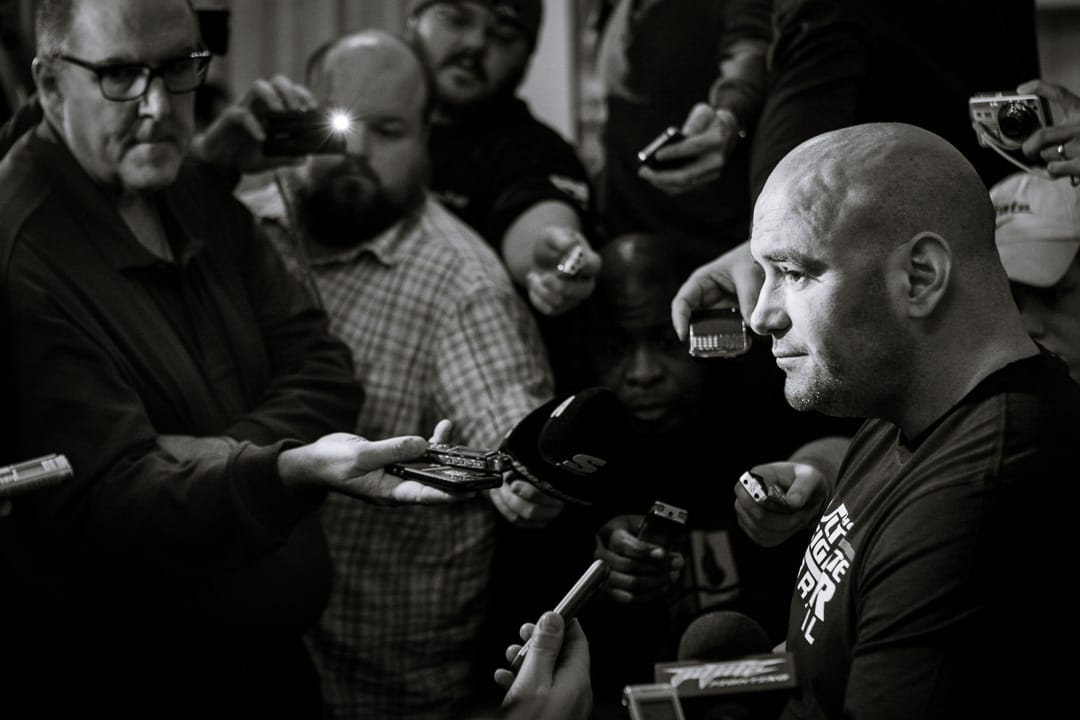 Dana White talks to media during a press conference in Chicago. Photo by Joey Hill.