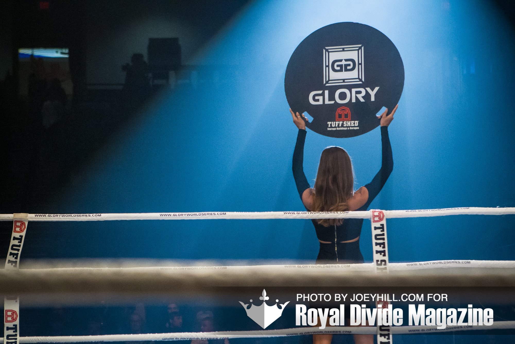 Glory Kickboxing ring girl, Alyssa Arce, at the end of a round.
